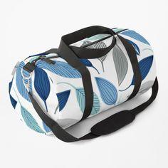 Blue Leaves, Work Travel, Custom Bags, Leaf Prints, Gym Bag, Shoulder Strap, Floral Design, Printed, Awesome