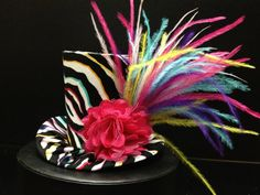 Zebra Mad Hatter Mini Top Hat Great for by daisyleedesign on Etsy, $29.95