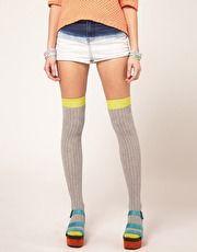 colour block over the knee socks