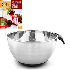Stainless Steel Mixing Bowl 25QT for Kitchen Cooking and Baking NonSkid Black Handle and Spout Free Ebook