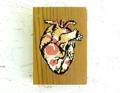 Yellow and Orange Funky Anatomical Heart by eightyacresart, $16.00