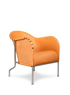 Mats Theselius easy chair BRUNO, natural leather, chrome