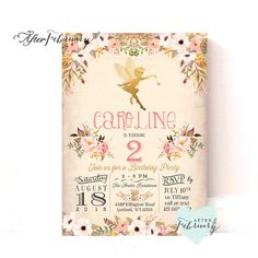 Fairy Birthday Invitation // Fairy Invitation // Watercolor Floral  // Typography // Vintage Peach Background // Printable No.986