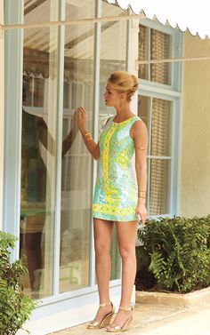 Lilly Pulitzer Mila Lace Detail Shift Dress in Multi Sun Dance Small- love the yellow details