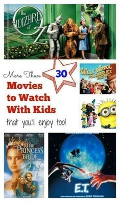 More than 30 movies (that don't suck!) to watch with kids like Wizard of Oz, Princess Bride, ET, Willy Wonka ... You'll enjoy all of these too! Great for holiday break or New Years Eve - @toulousentonic | lists | entertainment ideas | activities |