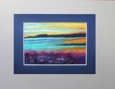 Romantic Sunset Original oil painting  8x10 mat by VESNAsART, $44.00