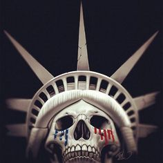 Skull of Liberty. This is what is looming over the horizon. The death of Liberty, the death of America. Where are the Freedom Fighters?  We have heard the chimes at midnight. We know the clock is ticking down to the final hour and yet the people still sit and wait. If the people are waiting for a miracle they need to become that miracle and save themselves. RabidWolf-pinner