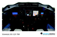 """Universal Avionics: Hawker HS 125-700 - (1) Display Suite: 4 EFI-890R 8.9"""" Flat Panel Displays with engine indication ND/MFDs; (2) Situational Awareness: 2 Application Server Units (ASU) for Jeppesen charts, checklists, weather and E-DOCS; (3) Flight Management: 2 UNS-1Fw FMSs with 4"""" CDUs"""