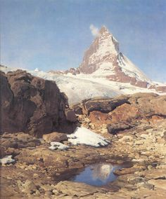 Mountain oil painting by Eugen Bracht