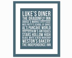 Stars Hollow Place Names Subway Art - Art Print - Typography Poster - Gilmore Girls TV Show - Lukes Diner Lorelai Rory Dragonfly on Etsy, $17.00