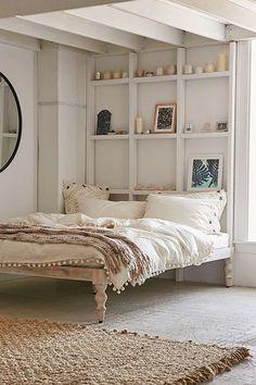 Bohemian White Wood Platform Bed