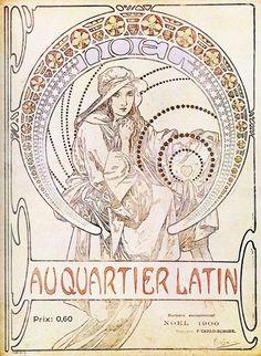 Mucha - Couverture de Magazine - Au Quartier Latin - 1900