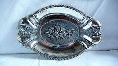 Vintage Small Decorative Metal Pewter Plate, Tea Bag Holder, Trinket Dish, Silver Plated Soap Dish, 3D Flowers, Ring Jewelry Holder by Grandchildattic on Etsy