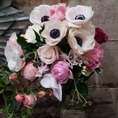 Whites pinks and greens Anemone Flower, My Flower, Flower Power, Peony, Flowers Nature, Fresh Flowers, Beautiful Flowers, David Austen Roses, Spring Blooms