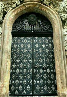 Black arched door in Prague, Czech, Republic.