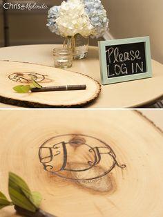 'Please LOG in' wedding guest book idea - Chris+Melinda Photography