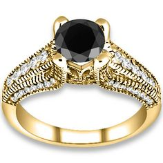 1.54 ctw 14k YG AAA Black, Accent H-I Color, SI Clarity Diamonds Engagement Ring http://www.pricepointshop.com/