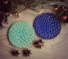 Keramik-Untersetzer Minze und Royal Blue Pebble Muster 2er Set