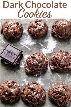 Chewy, gooey deep dark chocolate cookie recipe loaded to the max with three kinds of chocolate chips and chunks, and topped with sea salt!#holiday #christmascookies #darkchocolate #cookies @wellplated