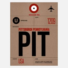 PIT Pittsburgh Baggage Tag by NAXART $38 on #Fab.