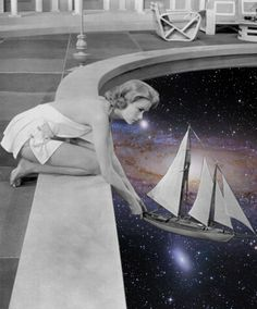 """the galaxy is the perfect ocean"" #collage #collageart #vintage #retro #galaxy #blackandwhite #art"