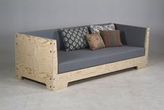 Cool couch made of plywood - right dimensions = daybed