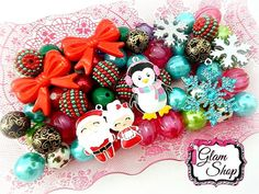 Christmas Bead Kit DIY Chunky Bead Necklace Kit by GlamShopBeads