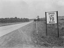 Pennsylvania Turnpike, 70-mph sign, 1942