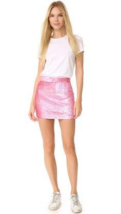 ASHISH Pink Sequin Miniskirt + white tee + sneakers
