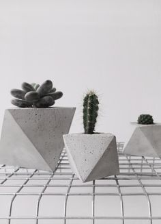 Octahedron concrete planter in small, handmade cachepot, modern geometric style by frauklarer on Etsy https://www.etsy.com/listing/220078301/octahedron-concrete-planter-in-small