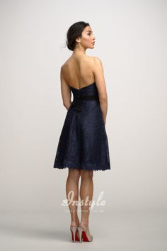 Navy Sweetheart Lace Short Natural Waist A-Line Dress UK Over Black Lining