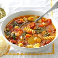 Over-the-Rainbow Minestrone This is a keeper, especially since it has pesto in it YUMMMY
