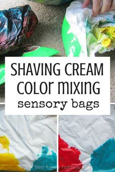 Would like to put together a color mixing activity without all the mess that comes with it? Try shaving cream color mixing sensory bag!