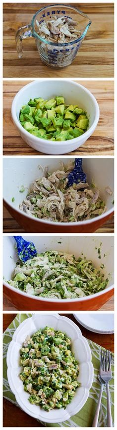 Ingredients:    2 cups cooked chicken, shredded into large pieces  2 medium avocados, diced  1 T + 1 T fresh squeezed lime juice  salt, t...