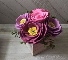 Felt flower wood box centerpiece flower bouquet wedding decor Mother's Day gift Handmade quality decor for every occasion. by Yesiscraftroom Felt Flower Bouquet, Felt Flowers, Diy Flowers, Fabric Flowers, Potted Flowers, Felt Diy, Felt Crafts, Zipper Flowers, Ribbon Flower Tutorial