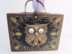 """If you collect original vintage """"art to wear"""" handbags, Enid Collins of Texas should certainly been in your inventory! 1963 Original Box Bag Night Owl, Wood Purse Handbag Signed Ex #EnidCollins #WoodBoxBag"""