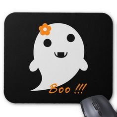 """Cute  Ghost With Flower And Word """"Boo"""" Mouse Pad - flowers floral flower design unique style"""