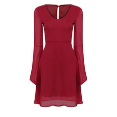 Yoins Burgundy Bell Sleeve Reveal Back Dress ($19) ❤ liked on Polyvore featuring dresses, burgundy, v neck chiffon dress, red bell sleeve dress, chiffon dresses, burgundy red dress and v-neck dresses
