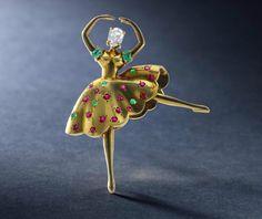 "A diamond, emerald, and ruby ""Danseuse"" brooch, Van Cleef & Arpels, circa 1944"
