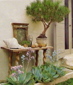 Just Verte ...: Barbara Wiseley, Naturally  This is another beautiful exterior vignette. The table is made of 18th c. limestone slabs;  the mirror is 17th c. Italian. Here again, a bonsai, this one a pine tree. The succulents are planted in a French 17th c. stone trough.