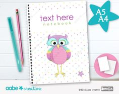 Personalised Notebook (Lotty Owl), handmade stationery - lots of designs to choose by aabecreative on Etsy