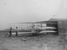 """""""Wilbur and Orville Wright getting the Flyer 2 ready to fly at Huffman Prairie, near Dayton, Ohio in 1904."""""""