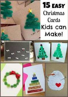 15 EASY Christmas Cards Kids Can Craft!! Perfect for teacher, grandparents and more. From Tots to Teens!!