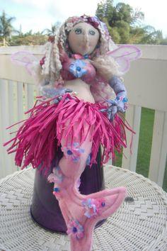 Fairy Mermaid Doll with Hula Skirt by KauaiMermaids on Etsy, $125.00