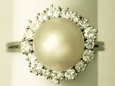 South Sea Pearl and 0.96 ct Diamond, 18 ct White Gold Dress Ring – Vintage Circa 1960