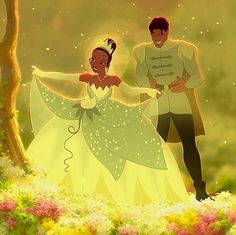 Prince Naveen & Princess Tiana from the 2009 Disney Movie; The First Princess & the Frog Disney Pixar, Disney And Dreamworks, Disney Animation, Disney Art, Disney Couples, Disney Love, Disney Magic, Princesa Tiana, Disney Princess Outfits