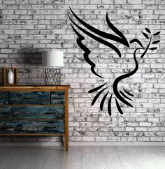 Dove of Peace with Olive Branch Pacifism Decor Wall Mural Vinyl Art Sticker M330
