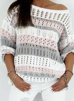 Oblique Neckline Color Block Asymmetrical Hollow Out Shift, Sweaters
