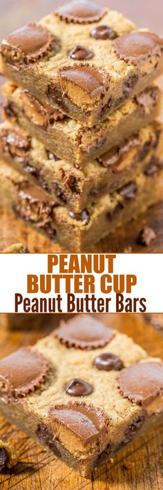 Peanut Butter Cup Peanut Butter Bars - Loaded with peanut butter, peanut butter cups and chocolate! Soft, gooey and totally irresistible! Everything's better with peanut butter cups! (soft peanut butter cookies with reeses) Peanut Butter Desserts, Peanut Butter Bars, Chocolate Peanut Butter, Peanut Butter Cup Cookies, Just Desserts, Delicious Desserts, Yummy Food, Health Desserts, Cookie Recipes