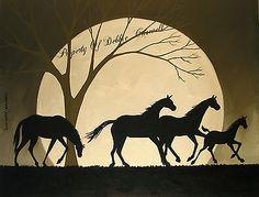 SOLD!! Original Painting Folk Art Silhouette Horses Run Filly Colt Foal Tree Landscape | eBay http://www.ebay.com/itm/190949961162?ssPageName=STRK:MESELX:IT&_trksid=p3984.m1555.l2649